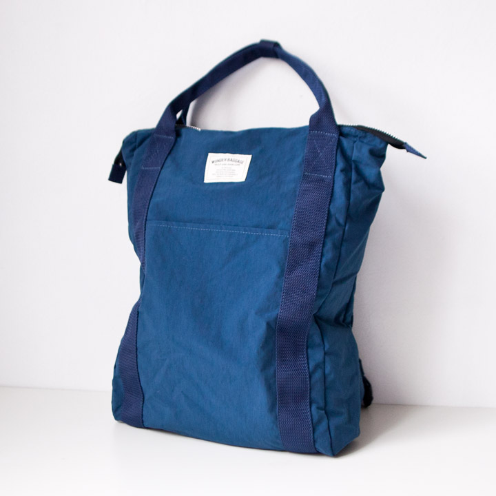 "WONDER BAGGAGE ワンダーバゲージ / Relax sack tote 2 : navy ネイビー"" style="