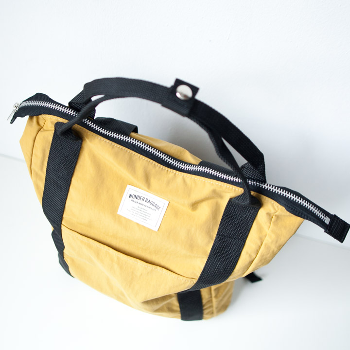 WONDER BAGGAGE ワンダーバゲージ / Relax sack tote 2 : mustard × black リラックスザックトート2