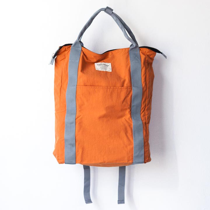 "WONDER BAGGAGE ワンダーバゲージ / Relax sack tote 2 : orange オレンジ"" style="