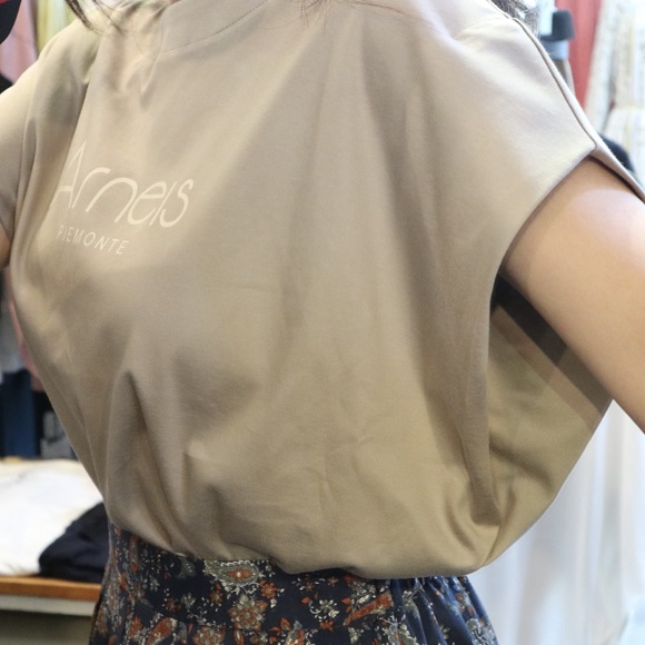【QTUME】『Arneis』プリントノースリトップス【Made in Japan】