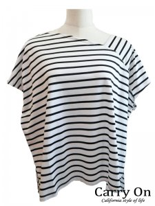 【CYNICAL】ボーダーアシンメトリーTシャツ【Made in Japan】