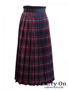 【Dignite collier】チェック配色ラッププリーツスカート