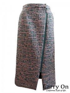 【QTUME】ツイードジップスカート