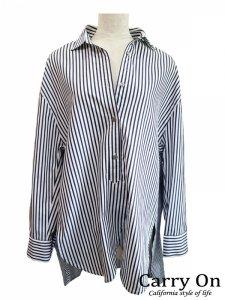【Hoochie Coochie】ストライプコットンシャツチュニック【Made in Japan】