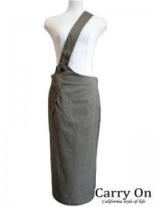 【QTUME】ストレッチチノワンショルジャンパースカート【Made in Japan】
