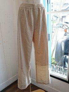 裾カットワーク刺繍ラフパンツ