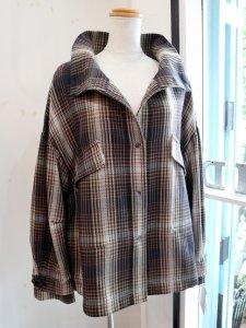 【Lallia Mu】スタンドカラーチェック柄CPOジャケット