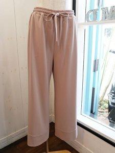 【QTUME】マットストレッチポンチ裾ターンバック風パンツ