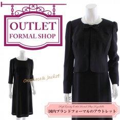 【53%OFF!】喪服礼服ブラックフォーマル|リボン付きノーカラーブラックアンサンブル13号
