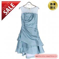 【71%OFF!】結婚式 ドレス 二次会 |華やかフリルシャンタンドレス9号(ライトブルー)