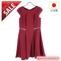 【71%OFF!】日本製 ドレス 結婚式 二次会 |フレンチスリーブワンピース11号(ワインレッド)