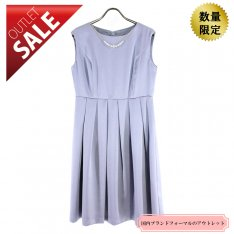 【60%OFF!】ひざ丈ドレス 結婚式 二次会 |上質サテンのアレンジドレス9号(ブルーグレー)