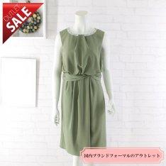 【69%OFF!】日本製 結婚式 二次会 ドレス|ネックビジューミディアムドレス9号(グリーン)