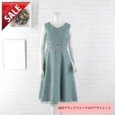 【67%OFF!】結婚式 二次会 ドレス ミディアム|フラワーレースポイントフレアドレス9号(ミント)