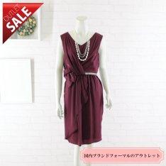 【58%OFF!】結婚式 二次会 ドレス ミディアム丈 | アシンメトリーカシュクールドレス9号(ボルドー)