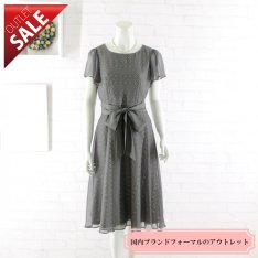 【62%OFF!】結婚式 二次会 ドレス 袖あり ミディアム丈 | 上品レースのフレアドレスMサイズ(グレー)
