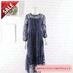 【56%OFF!】結婚式 二次会 ドレス ミディアム 袖あり|フワラーレースミディ丈ドレス9号(ネイビー)