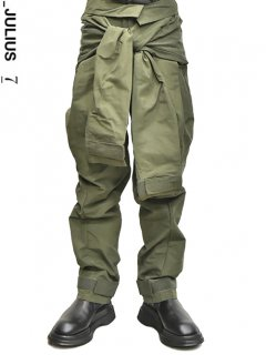 _JULIUS Combination Sleeve Baggy Pants -GREEN-<img class='new_mark_img2' src='//img.shop-pro.jp/img/new/icons8.gif' style='border:none;display:inline;margin:0px;padding:0px;width:auto;' />