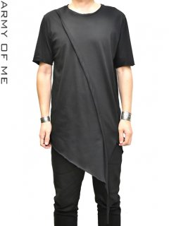 ARMY OF ME Banded Asymmetric T-Shirt -BLACK-