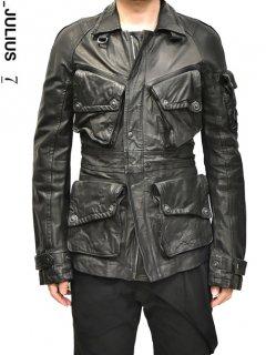 _JULIUS Leather Field Jacket -BLACK-