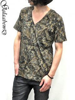 GalaabenD V-neck T Shirt Dark Paisley Print<img class='new_mark_img2' src='//img.shop-pro.jp/img/new/icons38.gif' style='border:none;display:inline;margin:0px;padding:0px;width:auto;' />