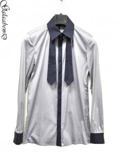 GalaabenD Bicolor Tie Collar Shirt