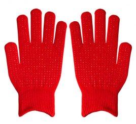 ダブルリブ手袋(男女兼用サイズ) 赤 すべり止め付き 【受注生産(6営業日以内出荷)】