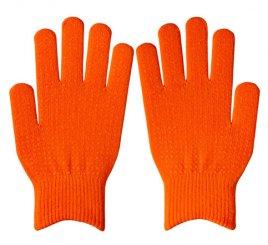 ダブルリブ手袋(男女兼用サイズ) オレンジ すべり止め付き 【受注生産(6営業日以内出荷)】