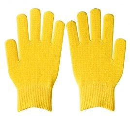 ダブルリブ手袋(男女兼用サイズ) レモンイエロー すべり止め付き 【受注生産(6営業日以内出荷)】
