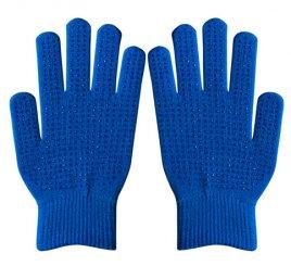 ダブルリブ手袋(男女兼用サイズ) 青 すべり止め付き 【受注生産(6営業日以内出荷)】
