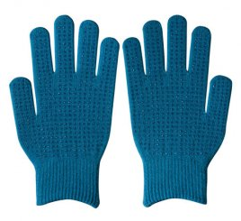ダブルリブ手袋(男女兼用サイズ) シアン すべり止め付き 【受注生産(6営業日以内出荷)】