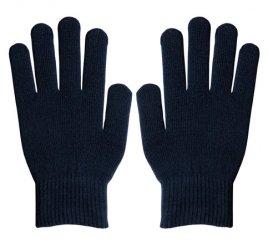 ダブルリブ手袋(男女兼用サイズ) 紺 すべり止め付き 【受注生産(6営業日以内出荷)】