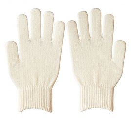 ダブルリブ手袋(男女兼用サイズ) オフホワイト すべり止め付き 【受注生産(6営業日以内出荷)】
