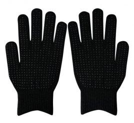 ダブルリブ手袋(男女兼用サイズ) 黒 すべり止め付き 【受注生産(6営業日以内出荷)】