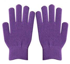 ダブルリブ手袋(男女兼用サイズ)紫 すべり止め付き 【受注生産(6営業日以降出荷)】