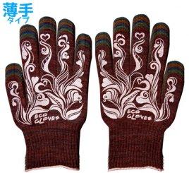 女性用 エコ手袋MIXカラー スベリ止め付き 5組