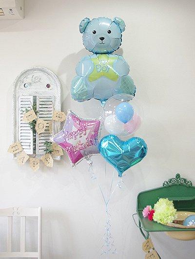 【A335】 水色のクマさんの風船と スターの風船と水色のハート風船