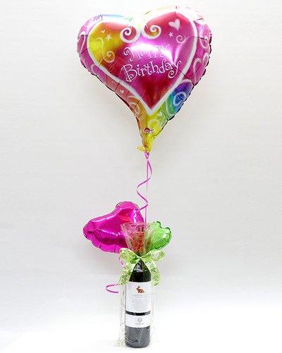【A90】 お誕生日のプレゼントに!イタリア赤ワインとバルーンのギフト(ヘリウム風船付き)