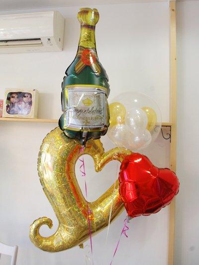 【L44】 Congratulations! メッセージ入りシャンパンボトルバルーンの贈り物