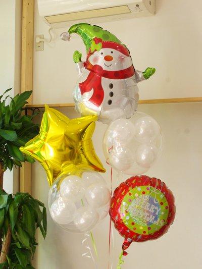 【E48】スノーマンと雪だまころころバルーンブーケ