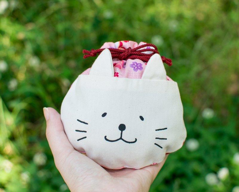 ネコぱんころりんミニ巾着 和風 桜尽くし