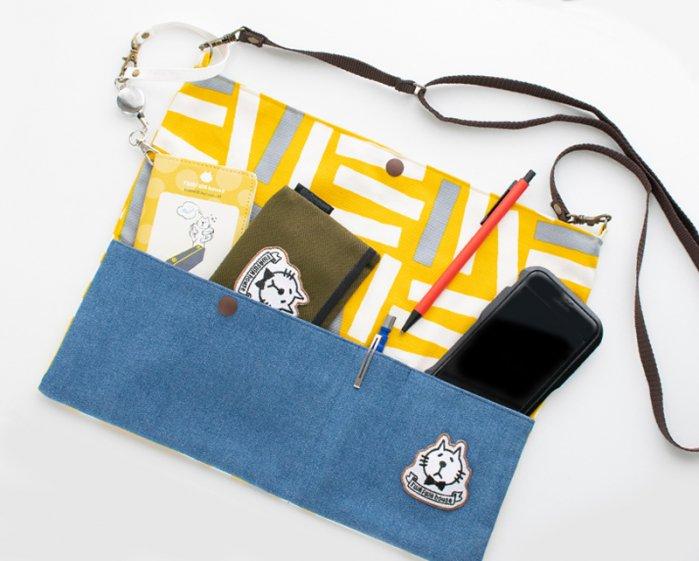 ネコぱんサコッシュバッグ 黄色い北欧風柄×デニム ポケット/裏地/ショルダーベルト付き