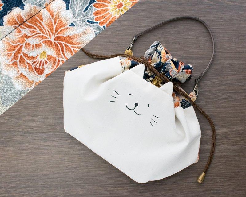 ネコぱんお出かけ3way巾着バッグ 和風 鶴と花 紺