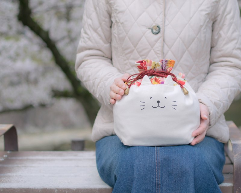 ネコぱんお出かけ3way巾着バッグ 和風 桜柄 ピンク市松模様