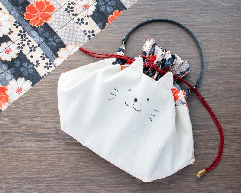 ネコぱんお出かけ3way巾着バッグ 和風 紅白桜柄×シックな縦縞模様