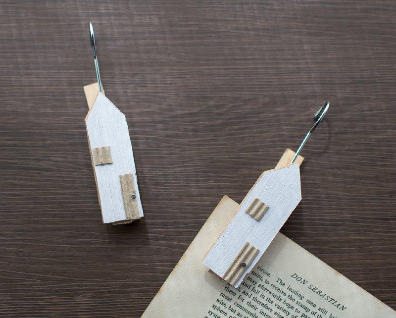 木製 お家クリップ フック付き ナチュラルホワイト