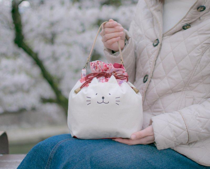 ネコぱんお出かけ3way巾着バッグ 和風 桜尽くし ピンク