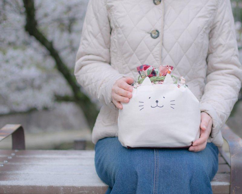 ネコぱんお出かけ3way巾着バッグ 和風 大正浪漫なレトロピンク