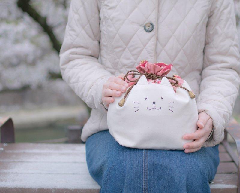 ネコぱんお出かけ3way巾着バッグ 和風 着物風 花と鞠 ピンク