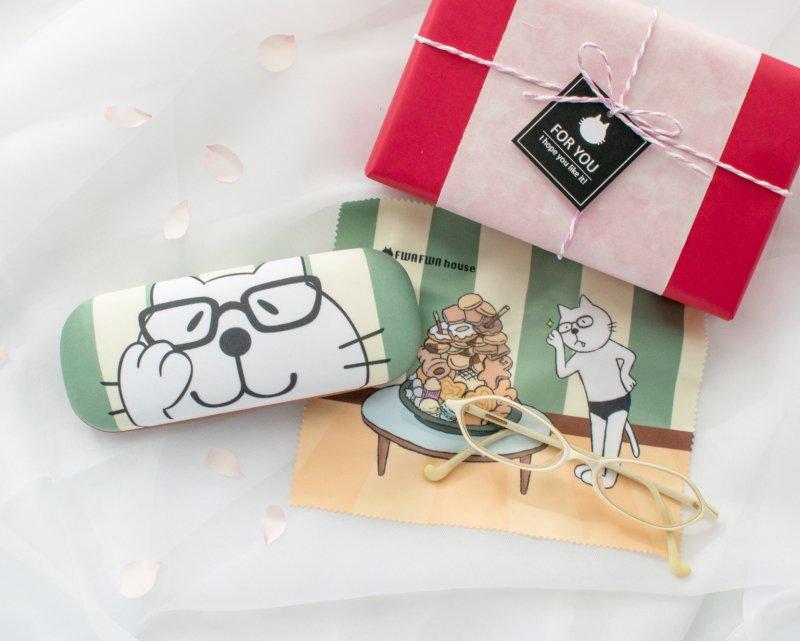 【春限定】ネコぱんメガネケース メガネクリーナー付き 桜ギフトボックス 入学・就職のお祝いに♪
